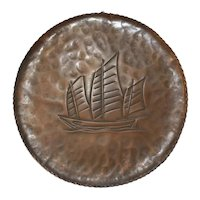 Arts and Crafts Copper Plaque with Boat