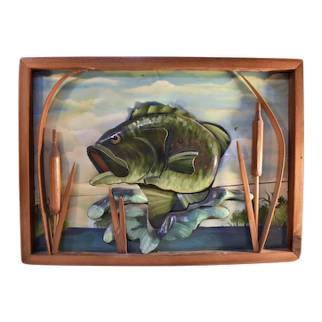 Wood carved Jumping Bass Diorama