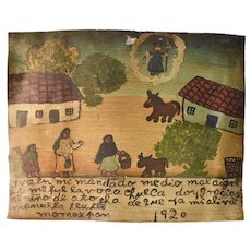 Early Mexican Retablo painted on tin