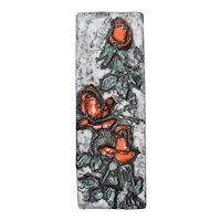 Ruscha Mid-Century Ceramic Art Tile 'Red Roses'