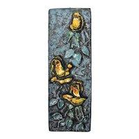 Ruscha Mid-Century Ceramic Art Tile, 'Yellow Roses'