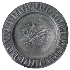 Vintage Pewter Plate showing Sighthounds