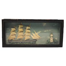 Early 20th Cent. Miniature Diorama/Box with Sailboat and Lighthouse