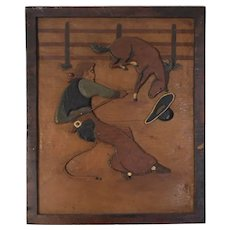Hand Carved Folk Art Western Rodeo Scene Wood Relief Plaque