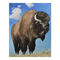 Original oil painting of a Buffalo