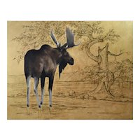 Original oil painting of a Moose
