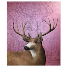 Original oil painting of a Mule Deer