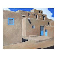 Original oil painting of Taos Pueblo, New Mexico
