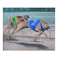 Original oil painting of Racing Greyhounds