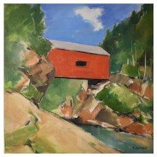 Original oil on canvas of 'Red Bridge'