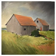 Original oil on canvas 'Two Barns'