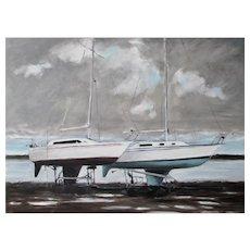Original oil painting of 2 sailboats, Nova Scotia