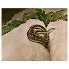 """Original oil study on board of snake in rocks 11"""" x 14"""""""