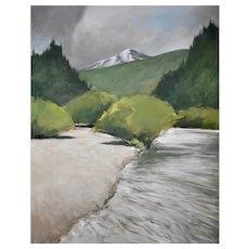 "Original oil painting of the Blue River, Colorado 22"" X 28"""