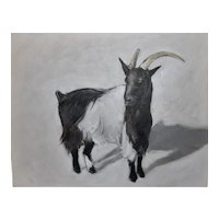 "Original oil painting on board of ""Goat #2"", 11"" X 14"""