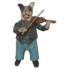 Heyde 'Knick-Knack / Nippes' - Dog Playing Violin (Figure 68 mm tall)