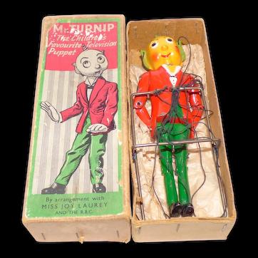 Barrett & Sons large Mr Turnip Head 17cm long Lead 1950s Television Puppet