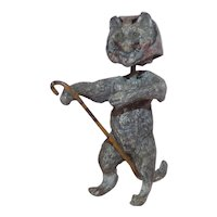 Heyde 'Knick-Knack / Nippes' - Nodding 'Old Woman' Cat in a Head Scarf with Cane