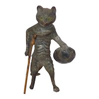 Heyde 'Knick-Knack / Nippes' - Nodding Begging Cat with Wooden Leg and Hat