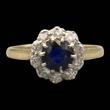 1930s 18ct Yellow Gold & Platinum Sapphire & Diamond Cluster Ring