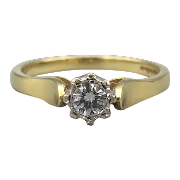 18ct Yellow Gold Solitaire Diamond Ring.