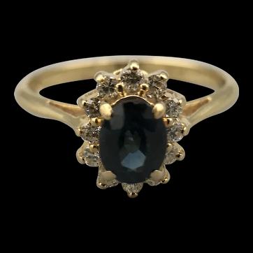 18ct Yellow Gold Sapphire & Diamond Cluster Ring. Edinburgh 1981