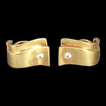 14ct Yellow Gold & Diamond Clip Earrings