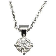 18ct White Gold Solitaire Diamond Pendant Drop