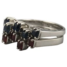 18ct White Gold Sapphire & Ruby Stacking Rings