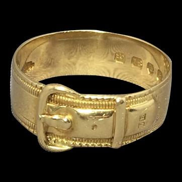 Antique 18ct Yellow Gold Buckle Ring. Hallmark London 1883