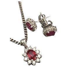 18ct White Gold Ruby & Diamond Pendant & Earrings