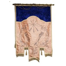 Vintage Odd Fellows Banner / the Archer Bow & Arrow
