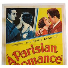Vintage 3 Sheet Movie Poster / A Parisian Romance 1932