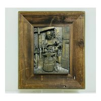 """Sculptural Wall Mounted Casting of an Old Blacksmith at Work by """"B. Forni"""""""