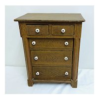 5 Drawer Miniature Grain Painted 19th. C. Chest of Drawers