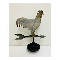 Cut Out Sheet Metal Rooster on Directional Weathervane