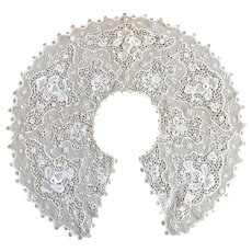 Very Large Victorian Collar with Heavy Lace Open work Pattern