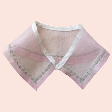 Baby Pink Organdy Collar with Pale Blue and White Inserted Lace