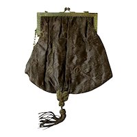 Bronze Brown Brocade Silk Purse with Gold, Copper and Brass Accents