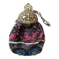 Mini Mini Beaded Marked Germany Small Wrist Purse with Filigree Brass Closure; Primary Shades of Rose Pink and Blue