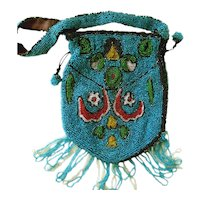 Blue Mini Beaded Art Deco Designed Purse with Original Mirror; Pull Thread and Snap Closure