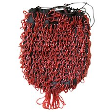 Orange-Red ART DECO All Over Beaded Purse with Loops on the Front and Back