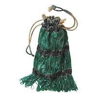 Kelly Green & Black Wrist Glass BEADED Evening Purse; ART DECO 1920's