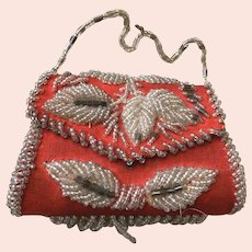 Red Twill Cloth Small Hard Side Purse with Glass Round and Bugle Beads: All Original