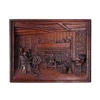 Vintage American Folk Art Hearth Scene Carved Wood Wall Plaque