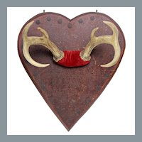 Antique Folk Art Deer Antler Mount on Heart Plaque