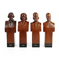 Vintage 1940's Folk Art Hand Carved Wood Classical Composer Bust Grouping