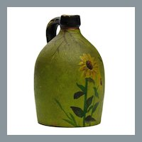 Antique Folk Art Sunflower Paint Decorated Miniature Stoneware Jug