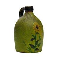 Antique Folk Art Sunflower Paint Decorated Miniature Stoneware Jug