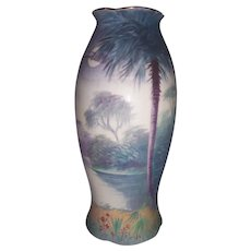 "Pickard Studios Vellum Tropical Scenic Vase Signed Keates 8 1/4"" Excellent"